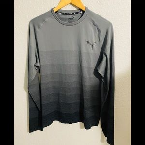 Men's PUMA Gray Long Sleeve Fitted Tee Size Large